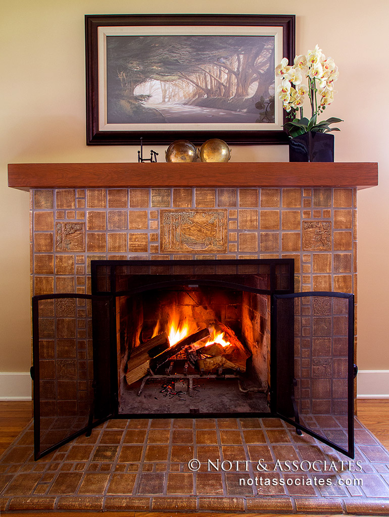 Reproduction of a Batchelder fireplace in South Pasadena.