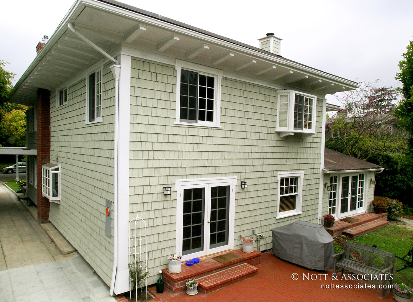 Home with wood shingle siding in Pasadena.