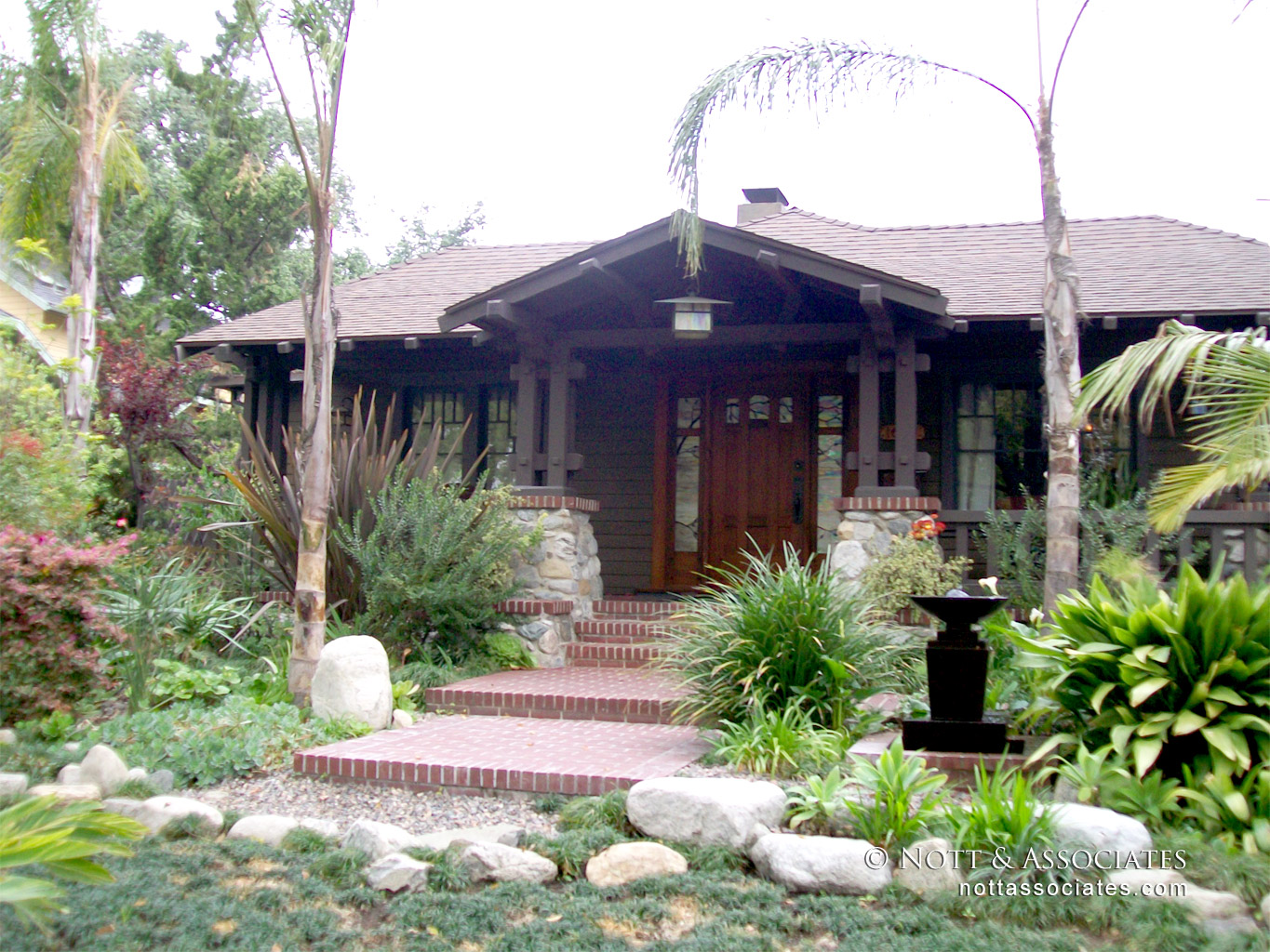 Remodeled front entry of Craftsman home in Pasadena, Ca