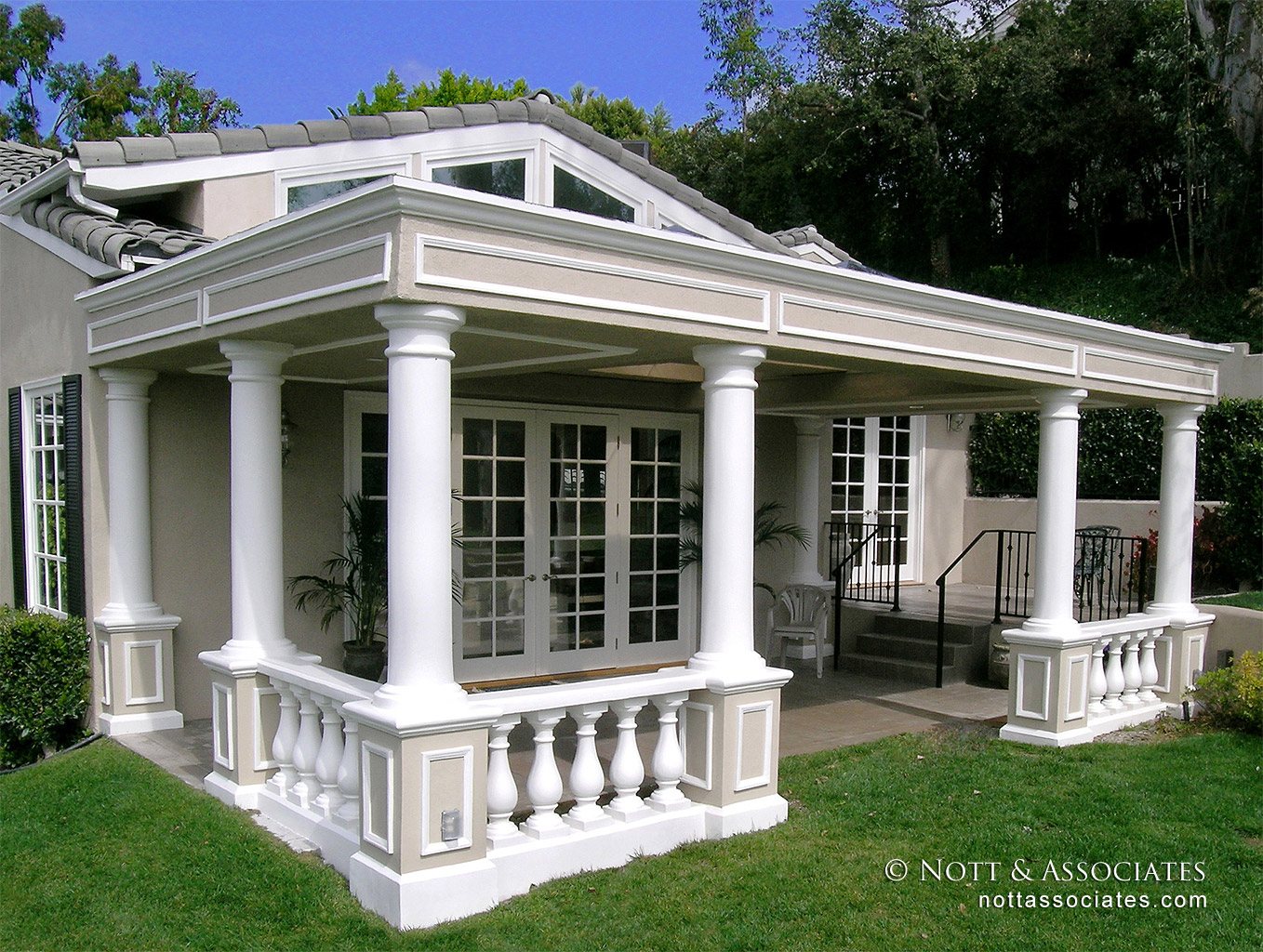 Patio of stately colonial home in South Pasadena.