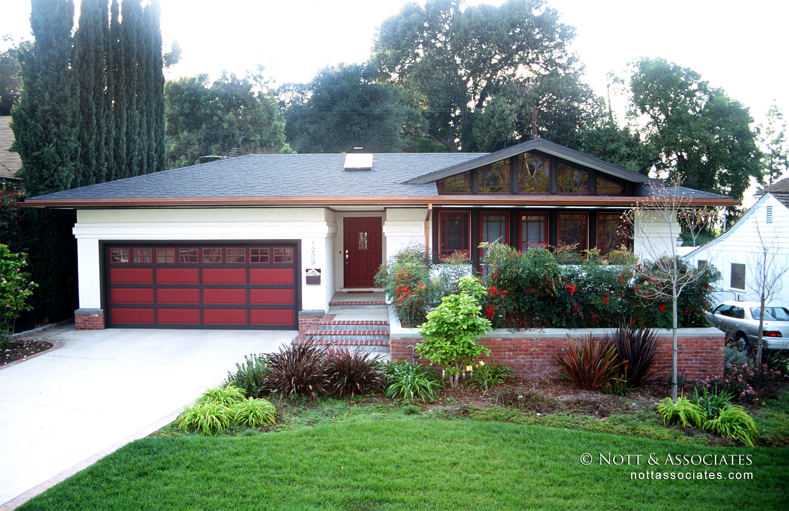 Transformed 1940's Ranch style home with striking entry.