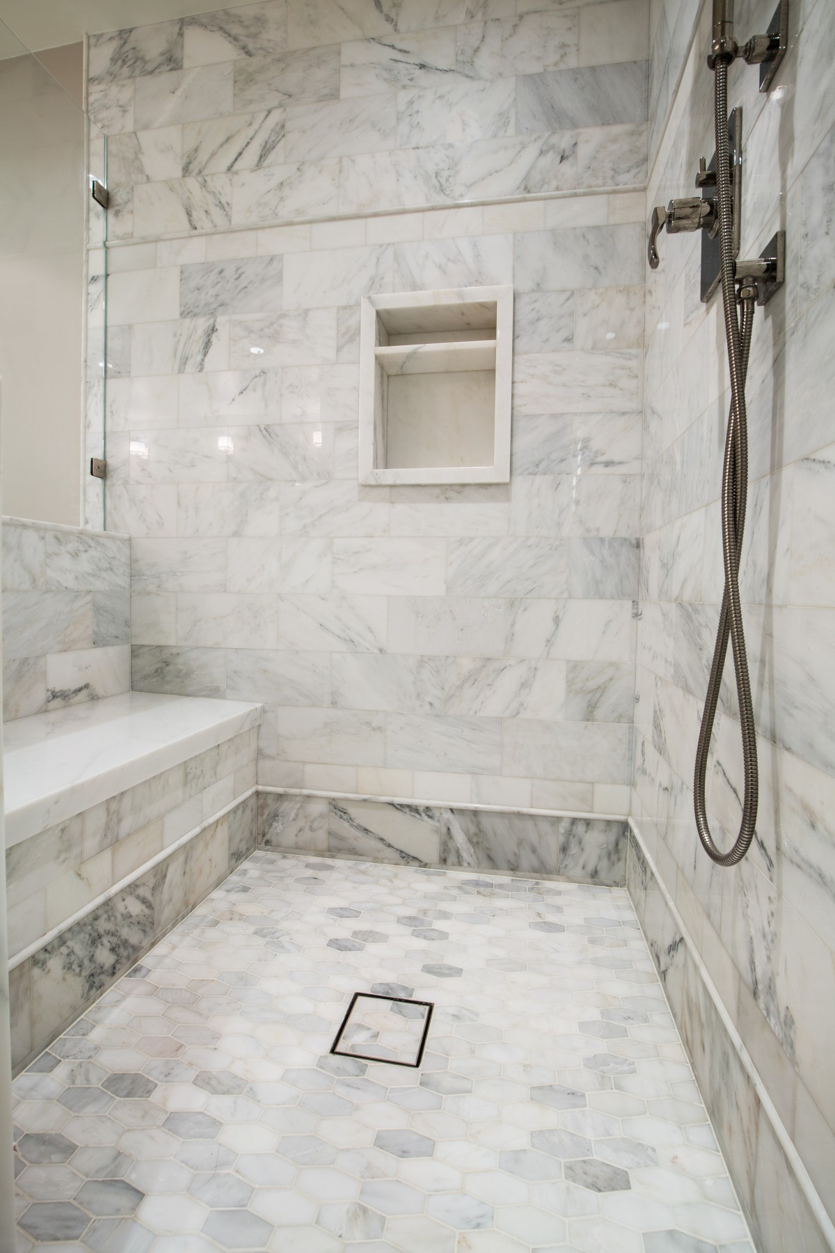 New Details of the Asian Statuary marble shower - Nott & Associates TP38