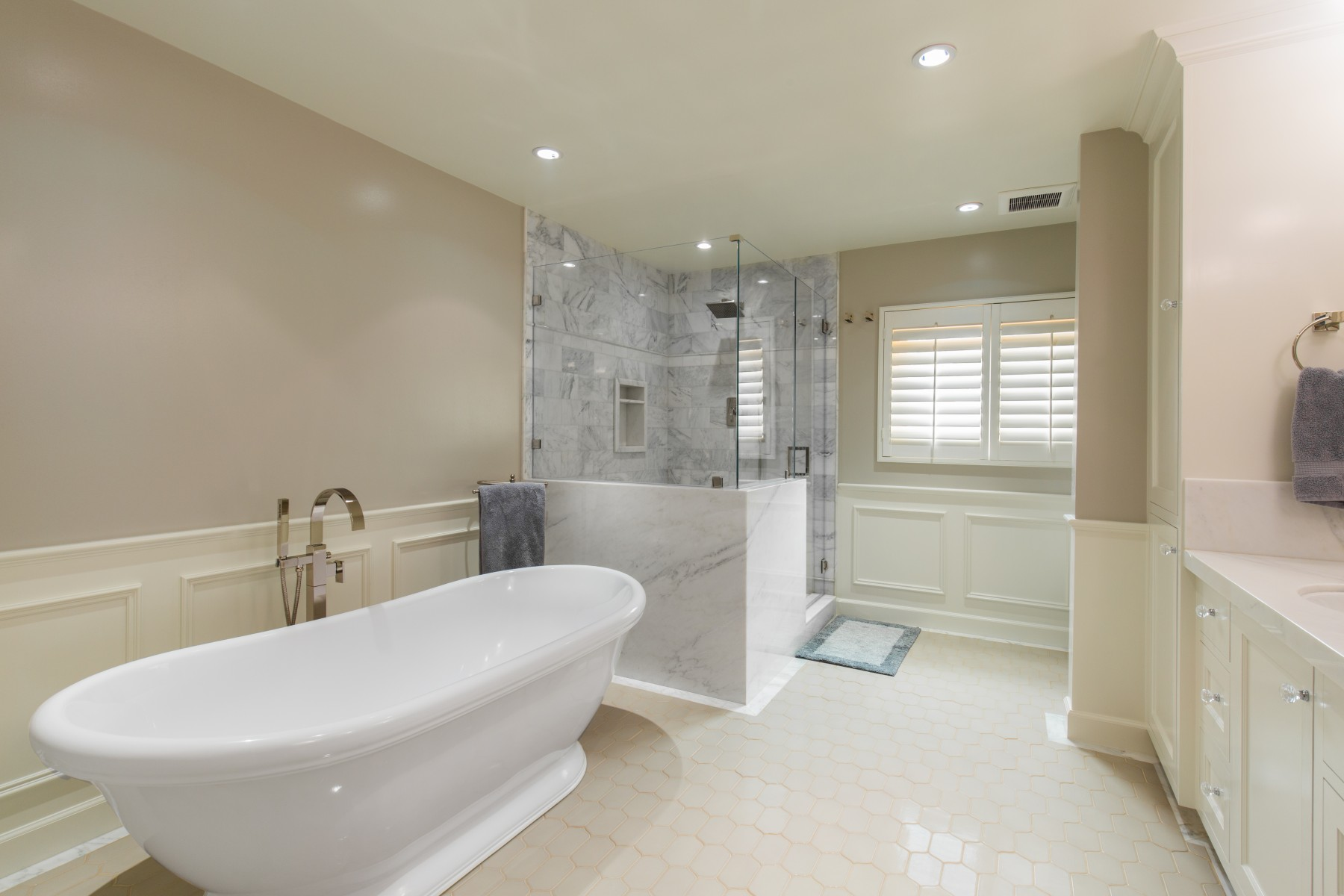 A master bath retreat with soaking tub and separate shower nott associates Bathroom designs with separate tub and shower
