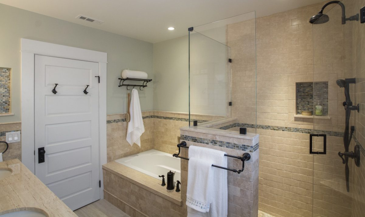 Master Bath with frameless glass shower door