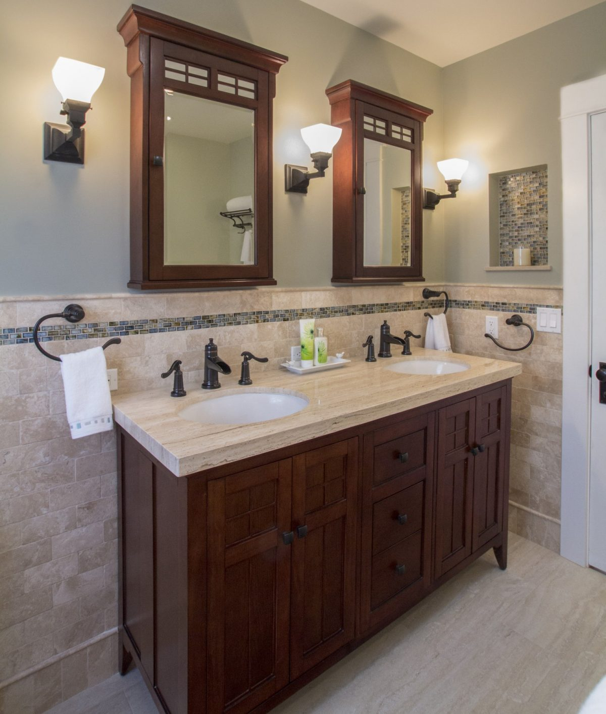 Master Bath with Craftsman details and modern tile accents
