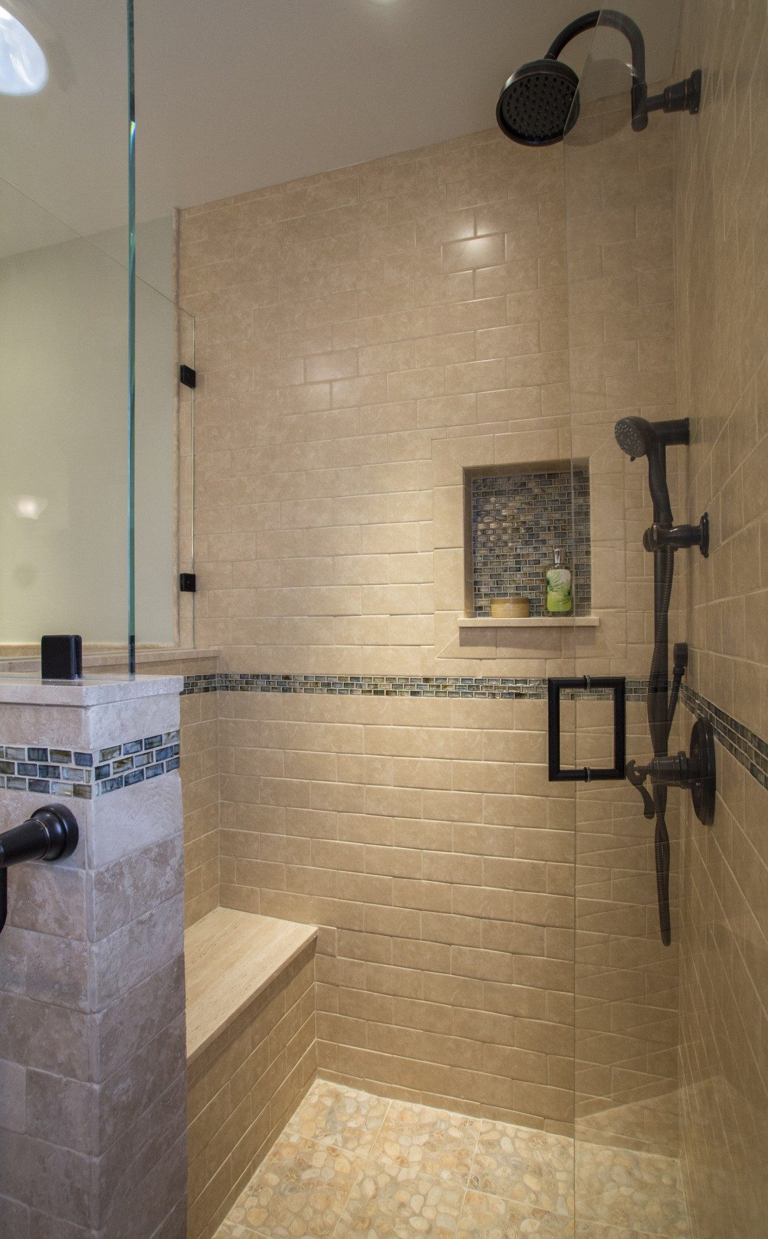 Master Bath with semi-private shower and Antique bronze fixtures
