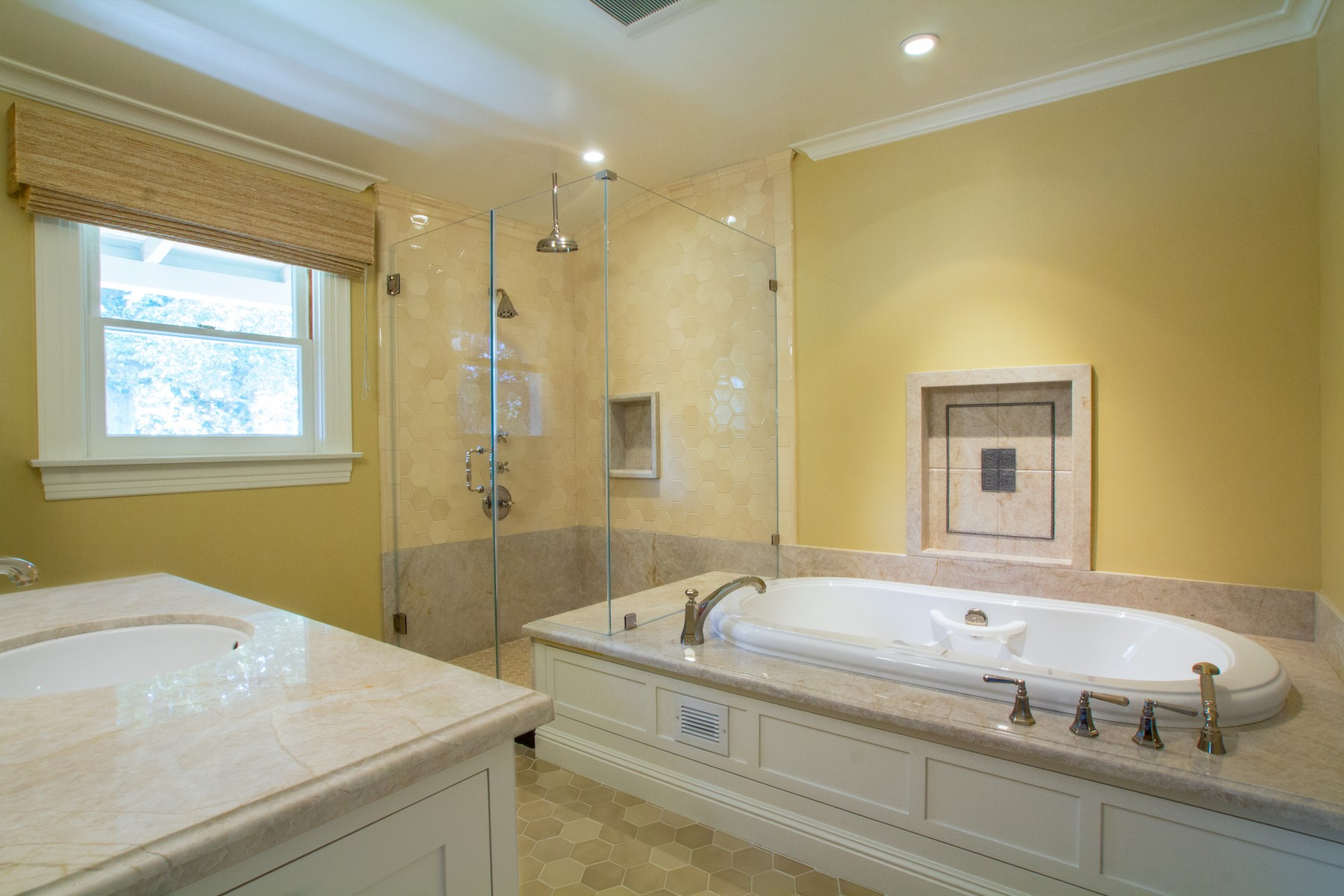 "A ""hers"" Master Bath whirlpool soaking tub"
