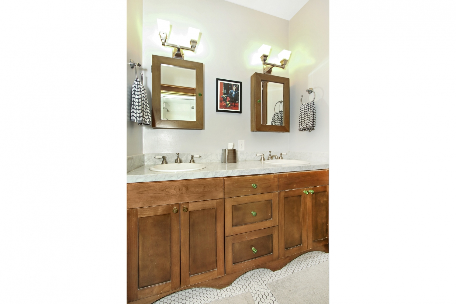 Period style vanity and medicine cabinets