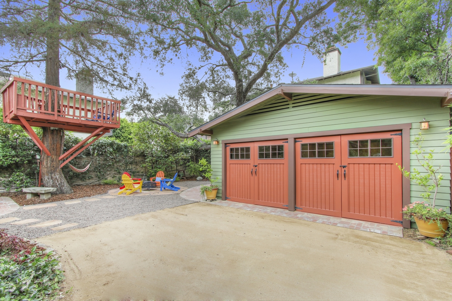 Craftsman revival remodeled backyard