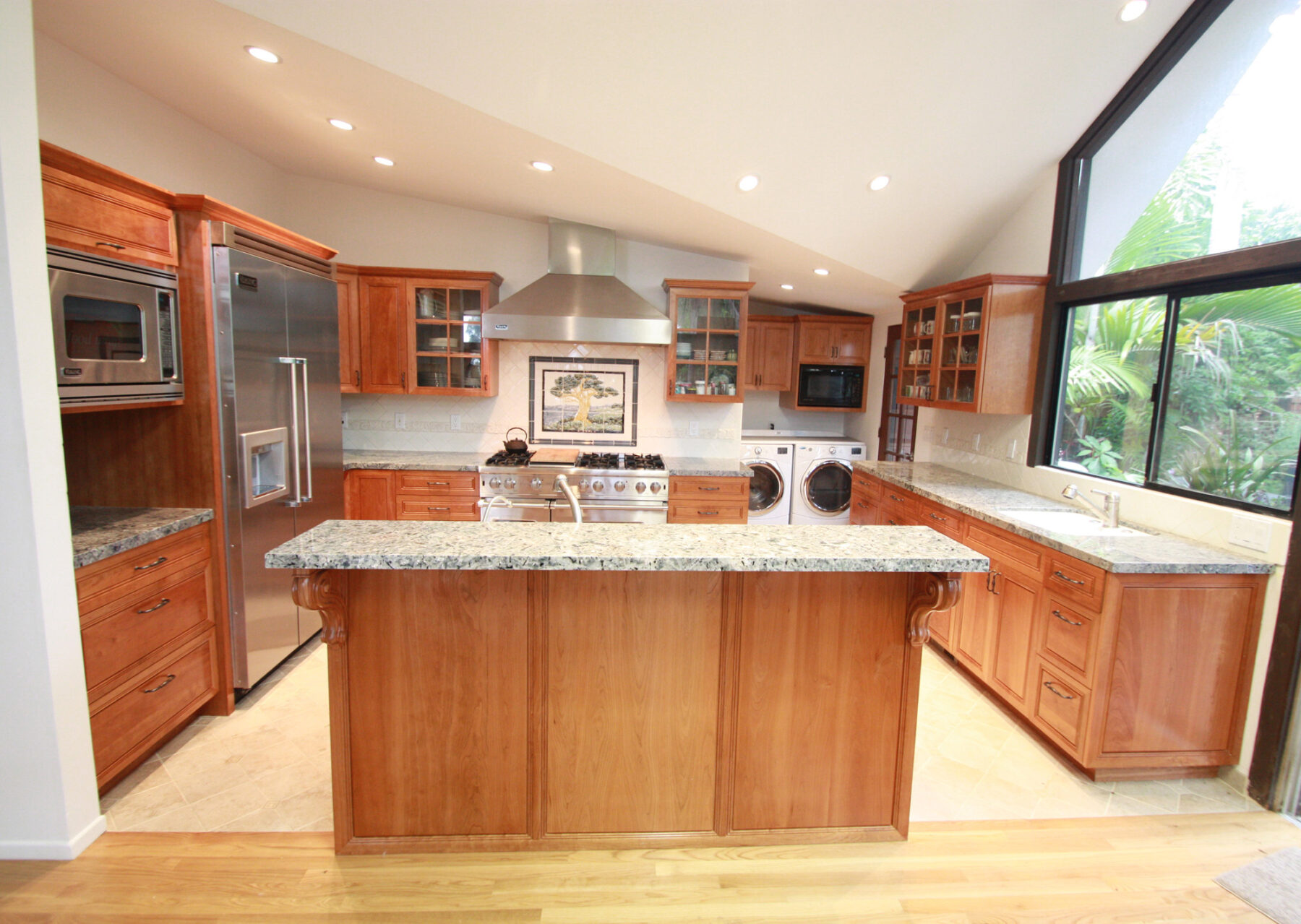 A full kitchen remodel with Cherry wood cabinetry