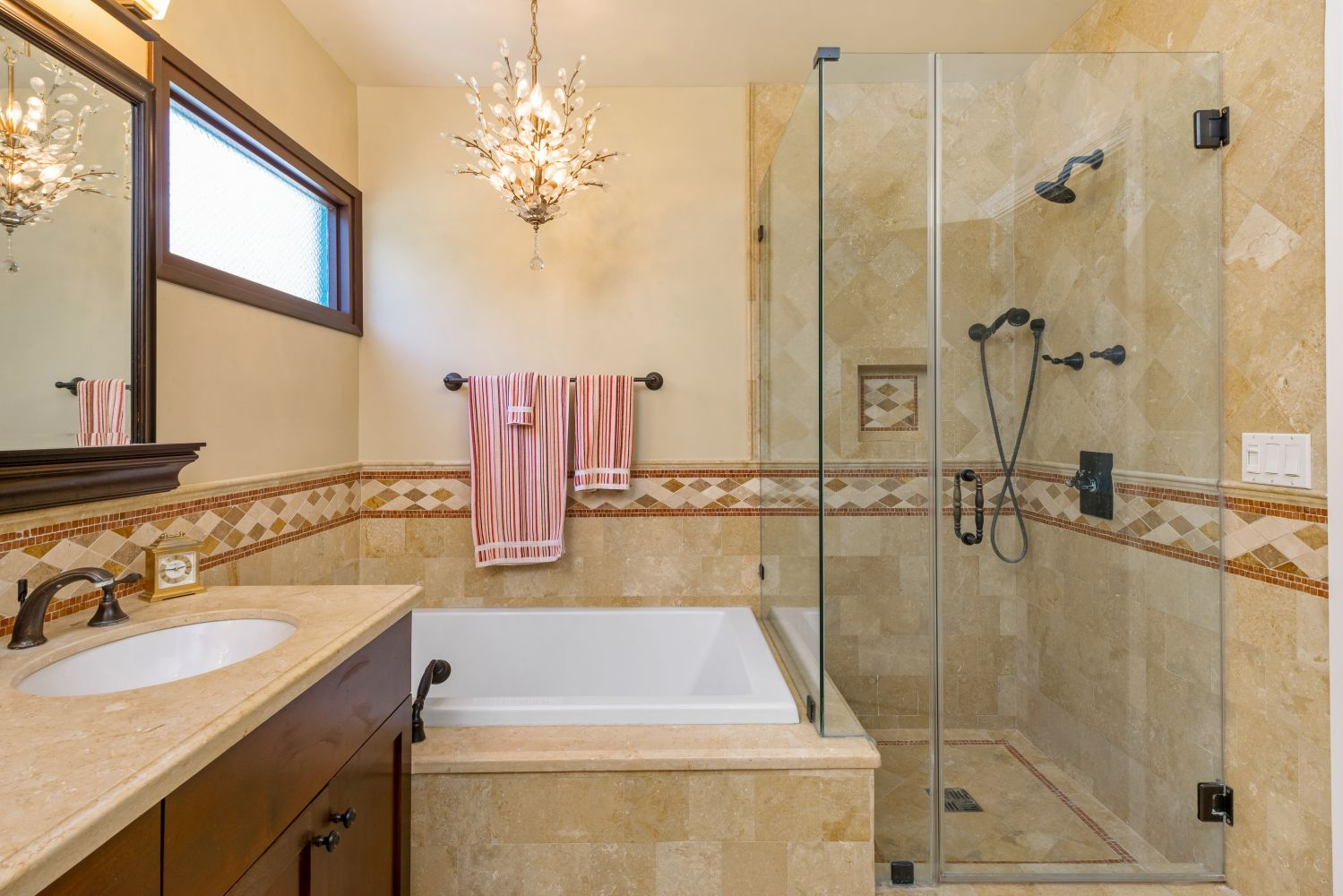 Decorative tile for built in tub and shower.