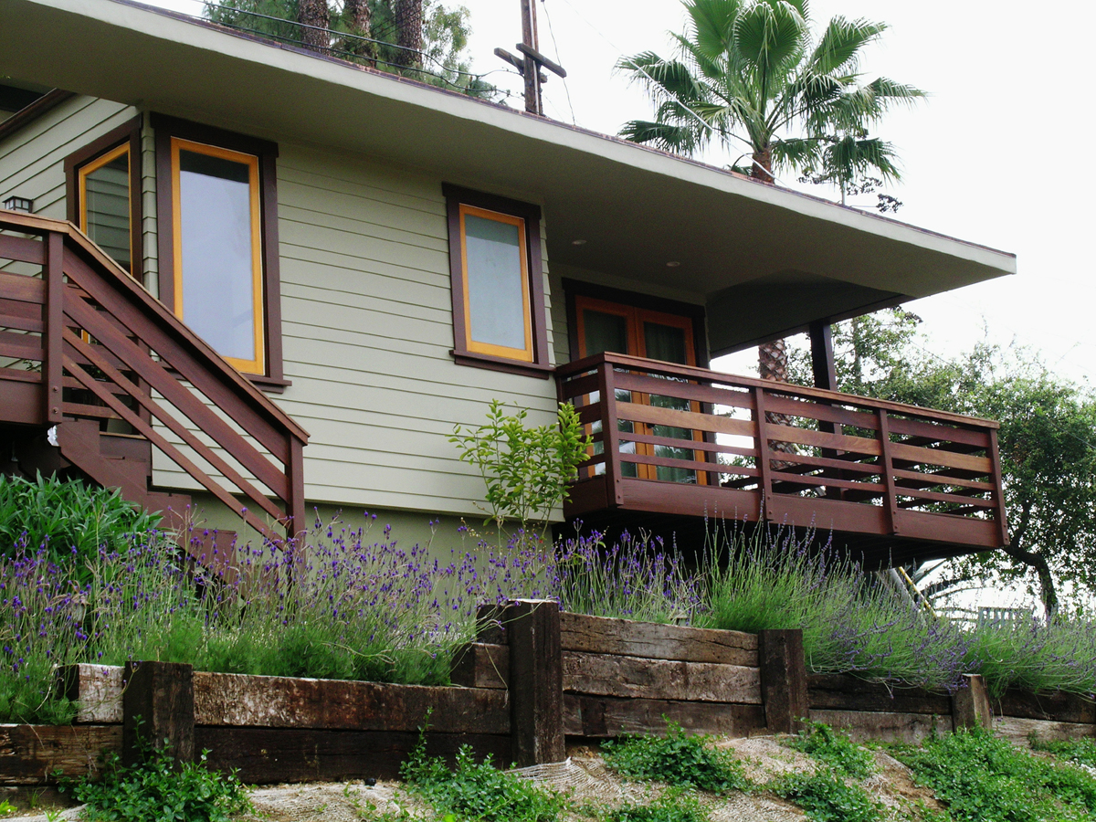 Ipe wood deck railing and staircase of new artist studio.