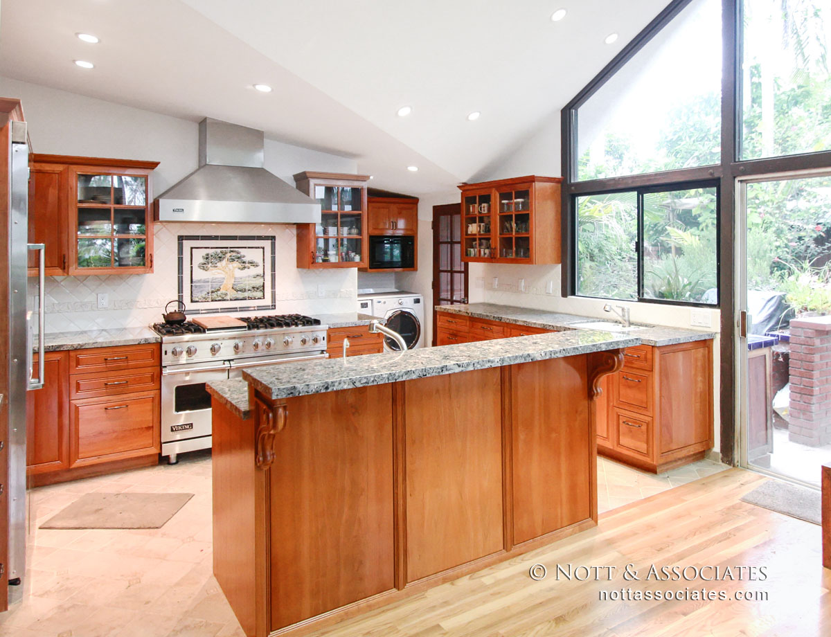 Full kitchen remodel with Cherry Wood cabinetry.