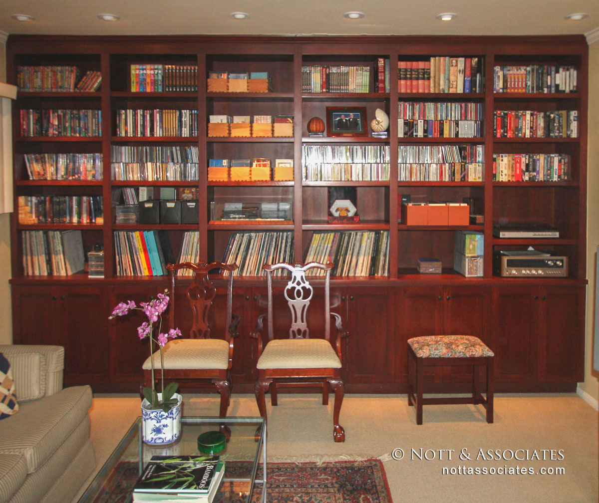 Built-in cherry wood bookcase.