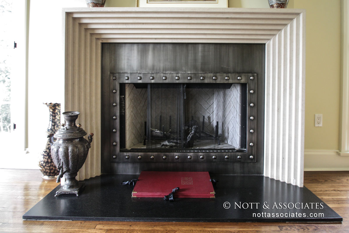 Close up of Medieval inspired fireplace.