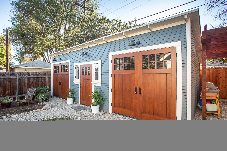 Fully restored Craftsman garage with Douglas fir doors