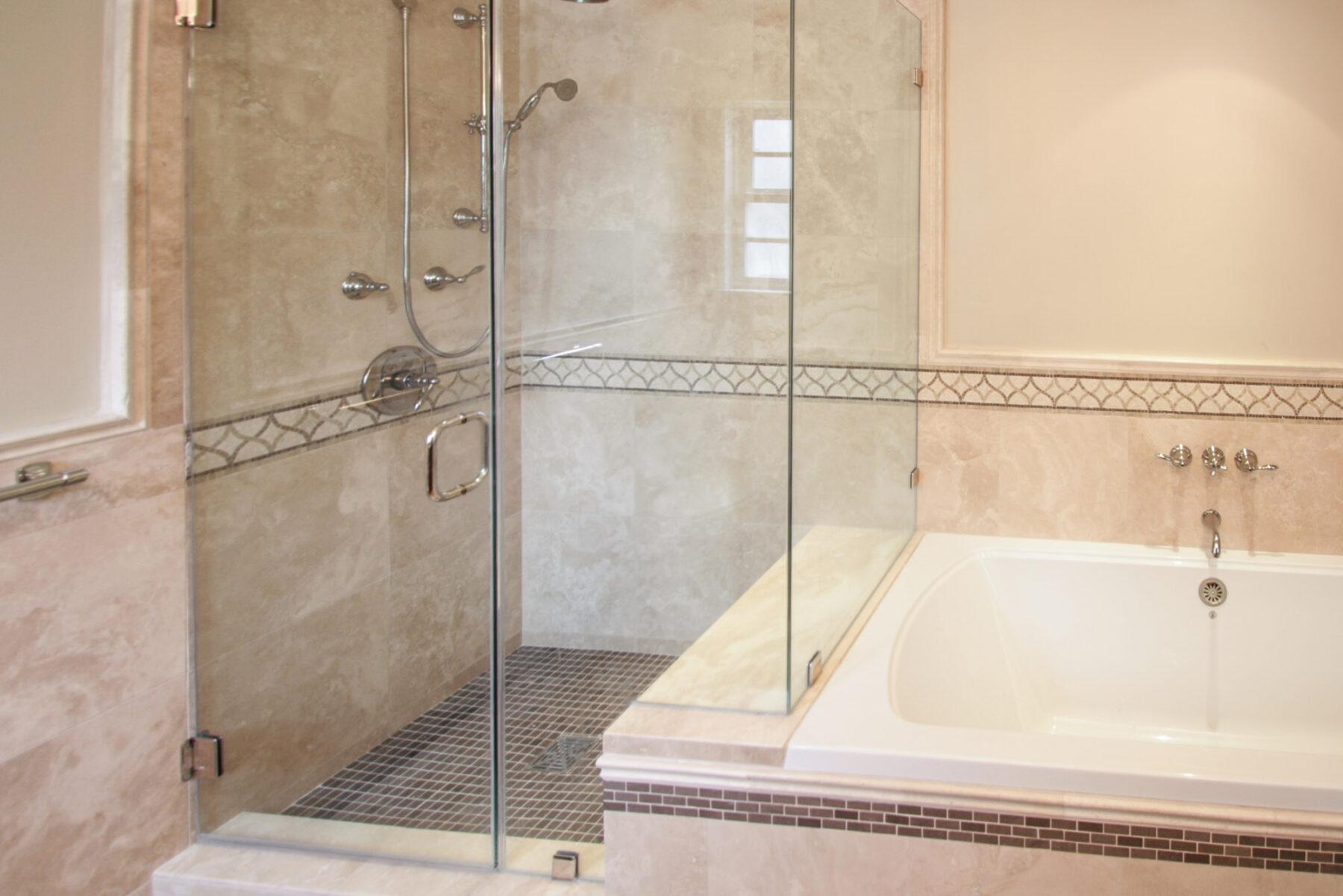 A Master Bath Full Frameless Glass Shower