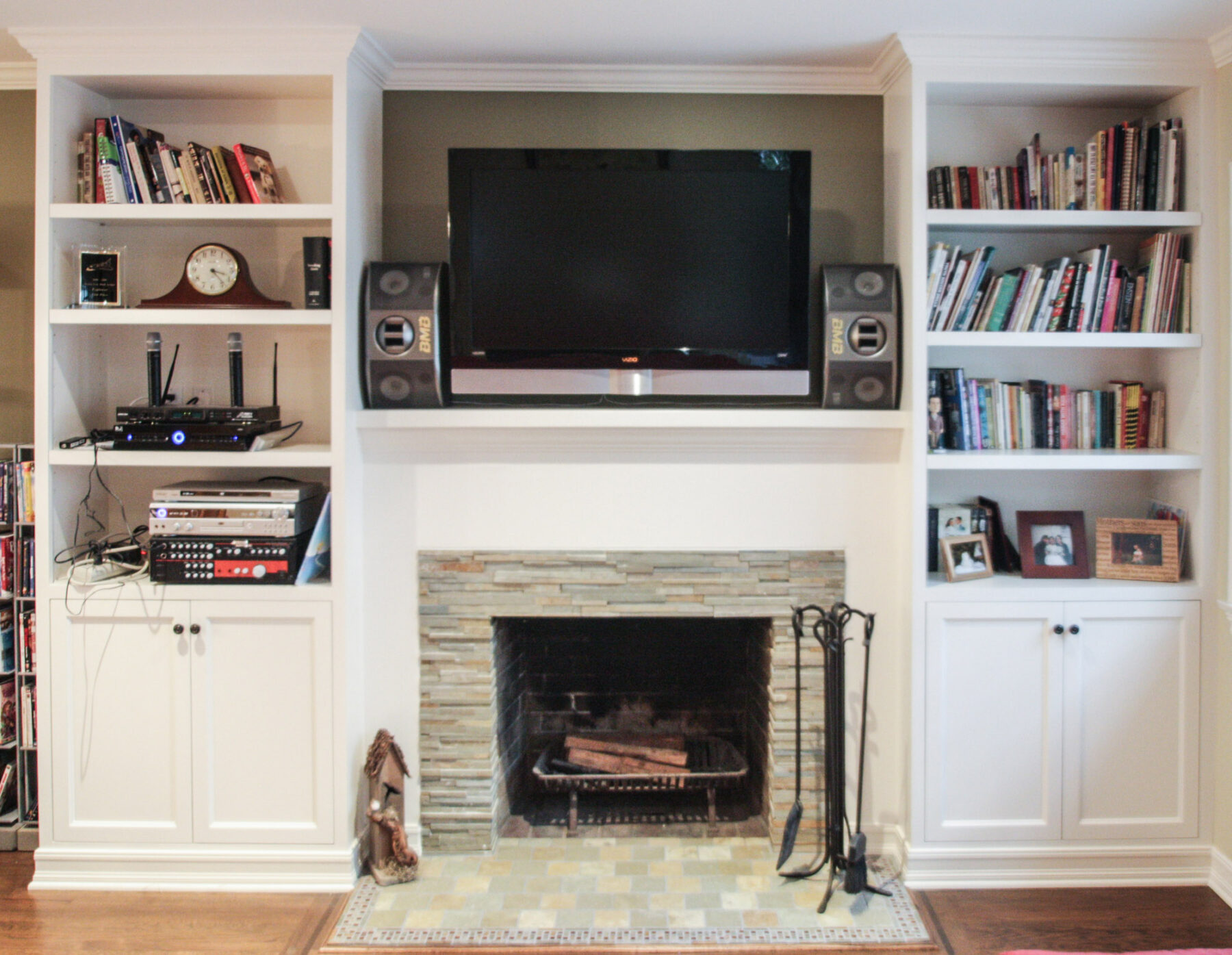 Remodeled Fireplace With Stacked Slate Tile Surround