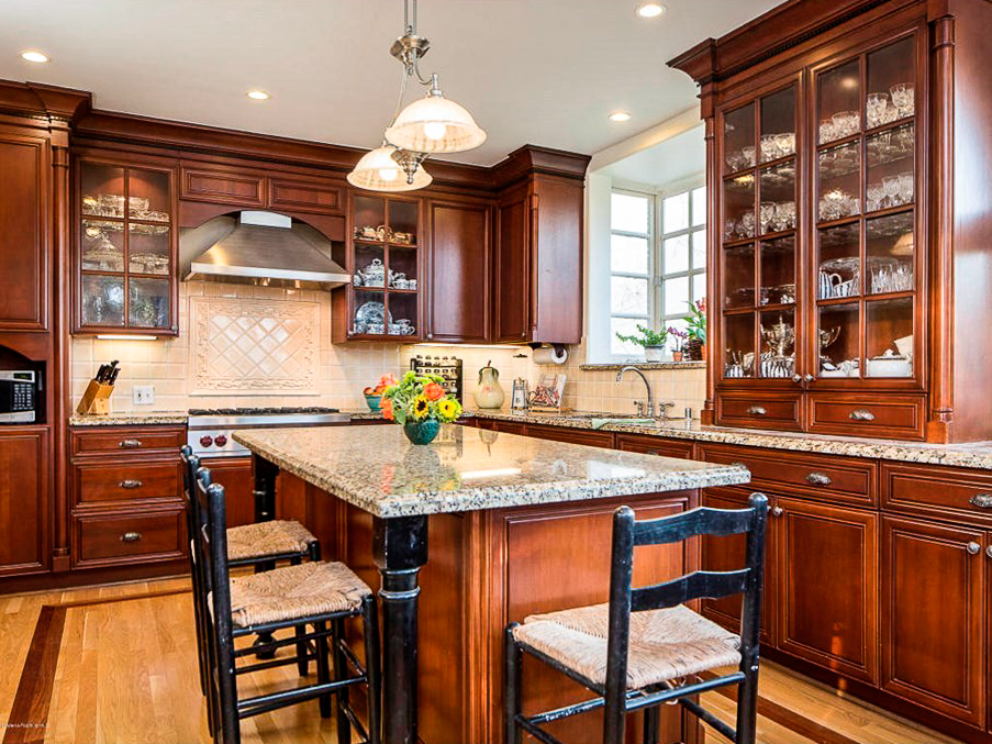 Traditional Dark Cherry Finished Kitchen With Island